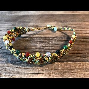 Jewelry - Adjustable braided and beaded bracelet